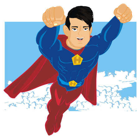 superhero flying on blue sky with clouds