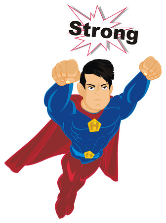 superhero flying with word strong