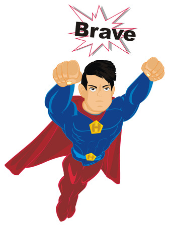 superhero flying with word brave Imagens