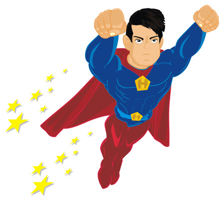 superhero flying and many stars