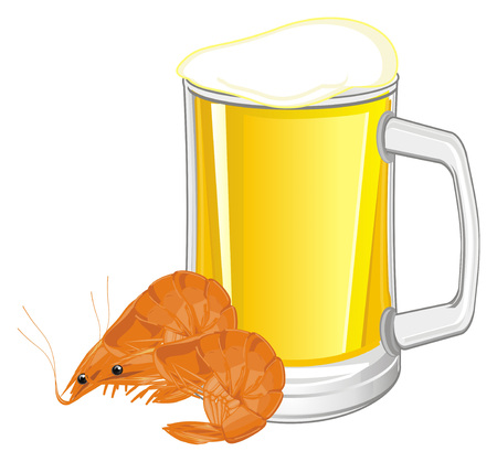 shrimps and full mug of beer Stock Photo