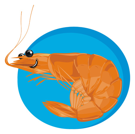 happy shrimp and blue icon