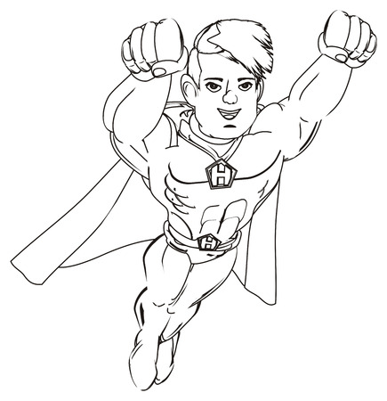 coloring superhero flying