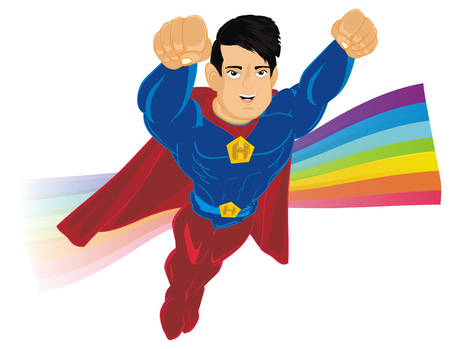 superhero flying with rainbow Imagens