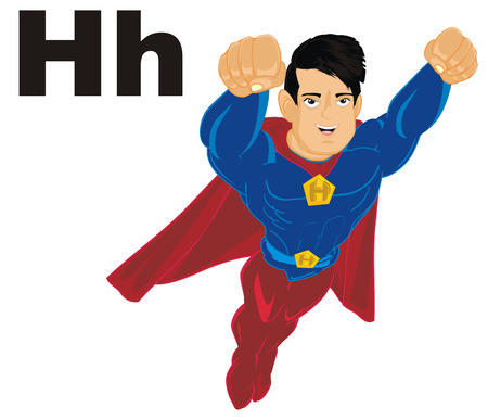superhero flying with letters h