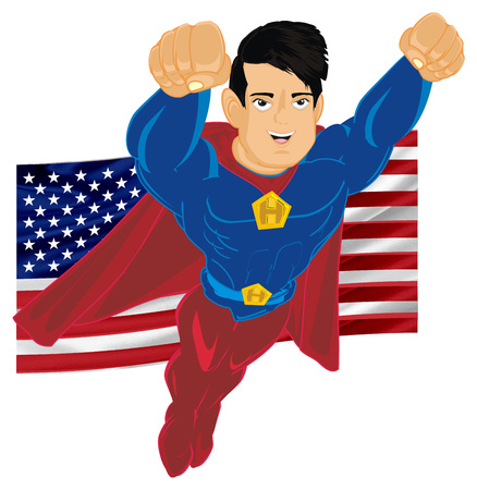 superhero flying with USA flag Imagens