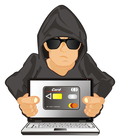 hacker with bank card