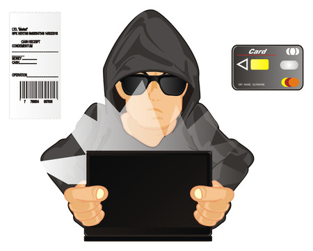 hacker with check and card