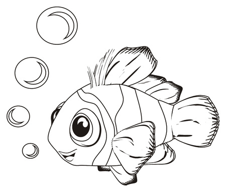 coloring smiling clownfish and bubbles