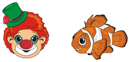 face of clown with orange clownfish