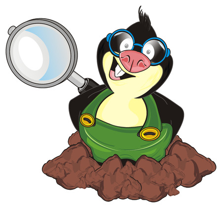 funny mole hold a large magnifier