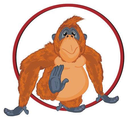 orangutan in red sign