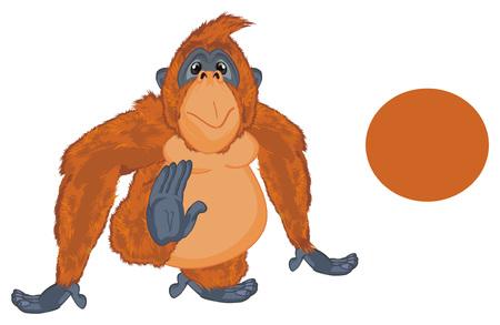orangutan and clean orange sign Фото со стока