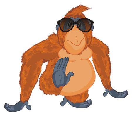 orangutan in black sunglasses