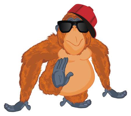 trendy orangutan in sunglasses and cap