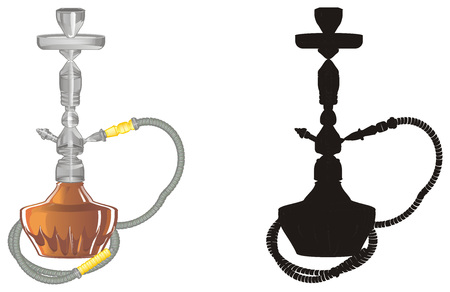 colored and solid black hookahs Stock Photo