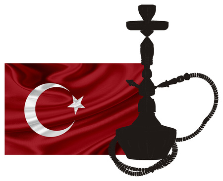 solid black hookah and flag