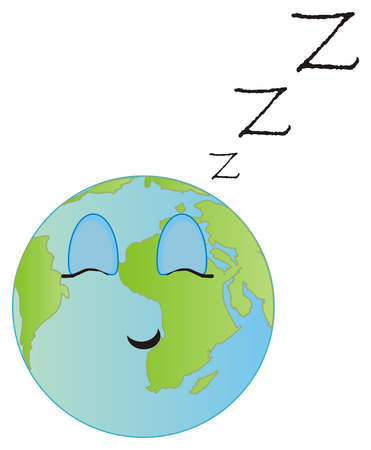 sleeping earth with letters z Standard-Bild