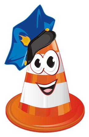 smiling orange traffic cone in blue cap