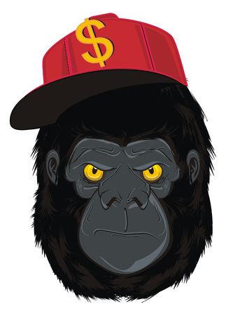 angry face of gorilla in red trendy cap