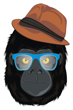 face of gorilla in hat with blue glasses Stock Photo
