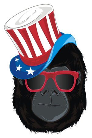 face of gorilla in hat with sunglasses