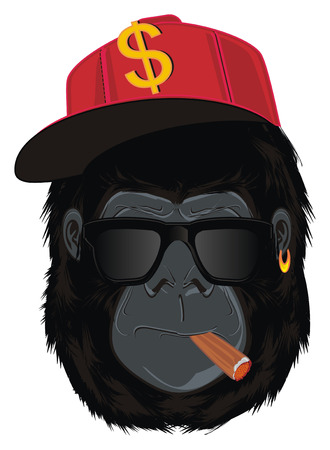 face of trendy gorilla with tools Stock Photo