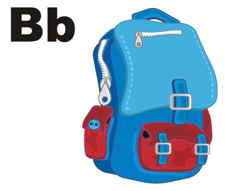 school backpack and letters b 版權商用圖片