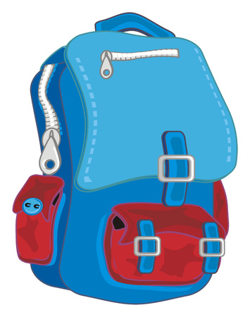 blue and red backpack
