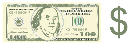 one hundred dollar and dollar sign