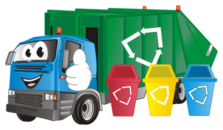 happy garbage truck
