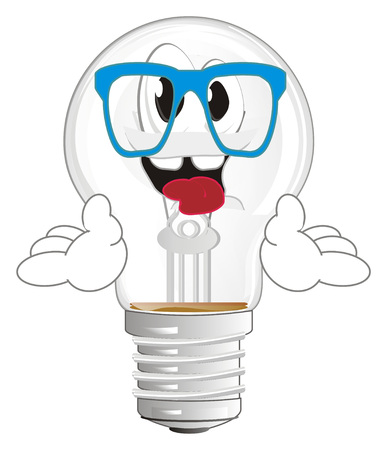 happy light bulb with glasses