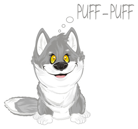 wolf talking puff-puff 版權商用圖片