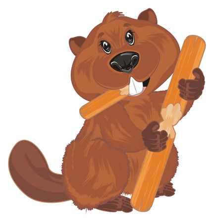 beaver eat a log Reklamní fotografie - 117760069