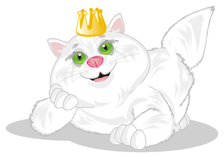 fat cat with gold crown Фото со стока