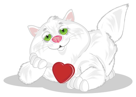fat cat with red heart