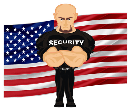 security and USA flag Stock Photo