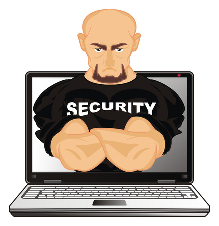 security peek up from laptop Stock Photo