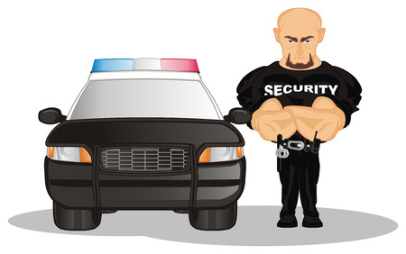 security and his car Stock Photo