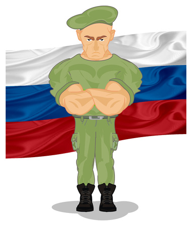 Russian flag and soldier