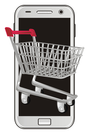 shopping trolley peek up from phone