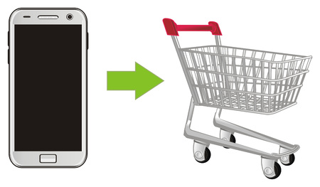 market trolley and smartphone Stock Photo