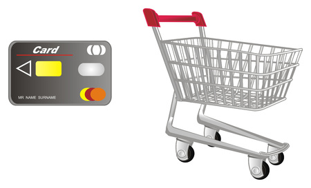 bank card and market trolley