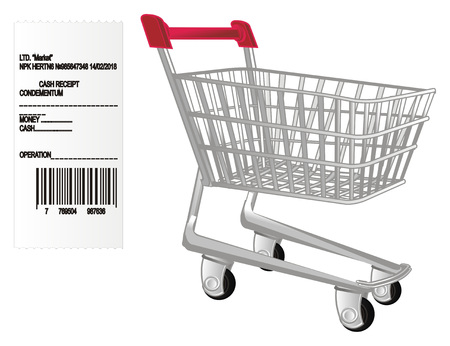 paper check and market trolley