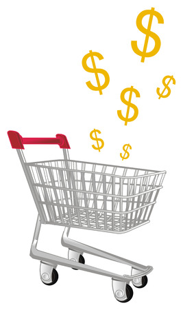 shopping trolley and dollar signs