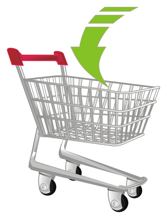 market trolley and arrow down