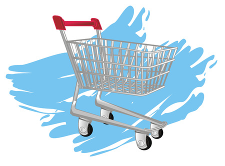 shopping trolley and blue background