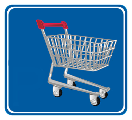 market trolley and blue road sign Stock Photo