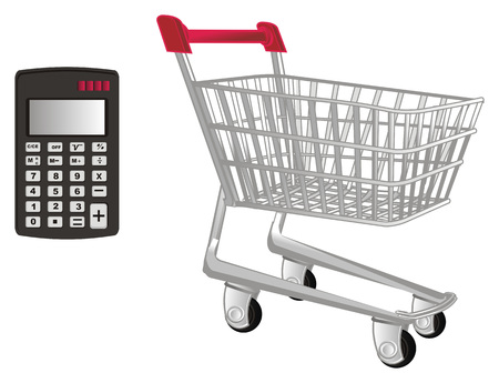market trolley and calculator Stock Photo