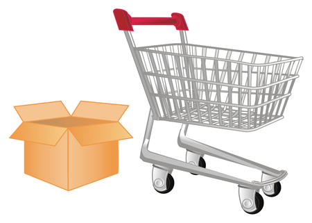 market trolley and paper box Stock Photo